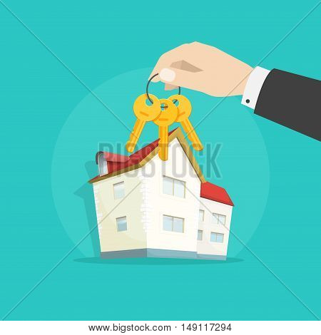 Home keys near house vector illustration, hand giving keys from house, concept of real estate, mortgage symbol, winning apartment keys, luxury gift, success deal