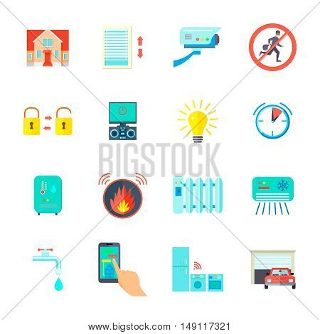 Smart home icons set with heating and conditioning system symbols flat isolated vector illustration