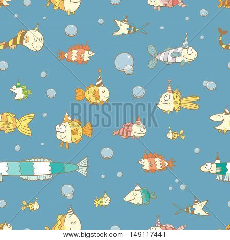 Birthday seamless pattern with cute cartoon fishes  in party hat  on blue  background. Underwater life. Funny sea animals. Children's illustration. Vector contour colorful image.