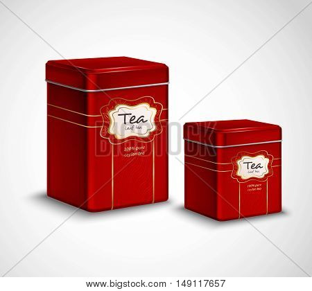 High quality tea metal packaging and storage containers realistic advertisement  poster with 2 red tins vector illustration