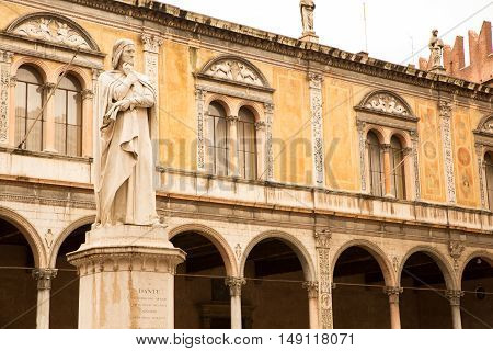 The Dante Alighieri statue in the center of Verona Italy.