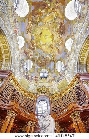 Vienna, Austria - August 14, 2016: The State Hall (prunksaal) Is The Heart Of The Austrian National
