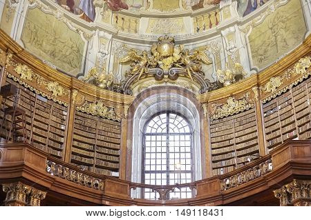 Vienna, Austria - August 14, 2016: The State Hall Is The Heart Of The Austrian National Library, Big