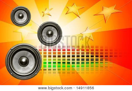 Audio Speakers On Red Background