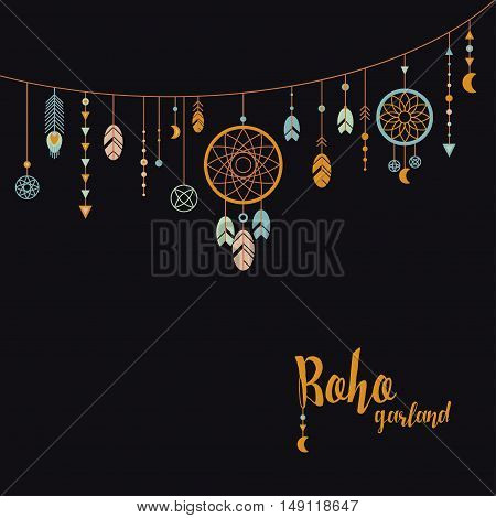 Black background with boho garland. Template in boho style. Garland with feathers, dreamcatcher, beads and pendants.