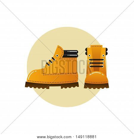 Vector image of orange trekking boots for hiking. Emblem or icon.