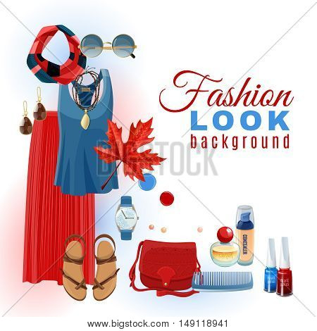 Bright summer fashion look with clothes accessories sandals and cosmetics background flat vector illustration