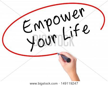 Women Hand Writing Empower Yourself With Black Marker On Visual Screen