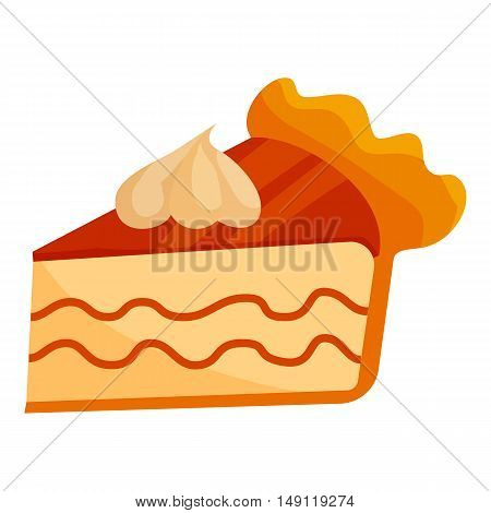 Piece of cake with cream icon in cartoon style isolated on white background. Food symbol vector illustration