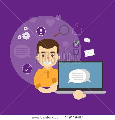 Smiling cartoon boy holding laptop with speech bubbles on screen. Social media banner on perpl background with communication icons, vector illustration. Chatting, international network, media app