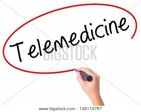 Women Hand Writing Telemedicine With Black Marker On Visual Screen