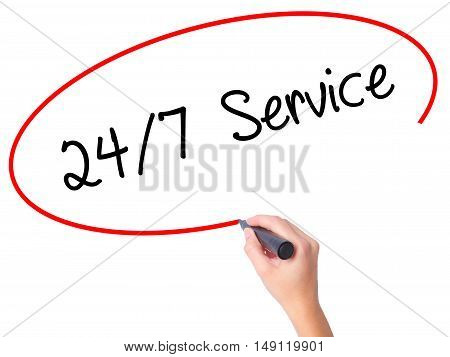 Women Hand Writing 24/7 Service With Black Marker On Visual Screen