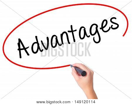 Women Hand Writing Advantages With Black Marker On Visual Screen