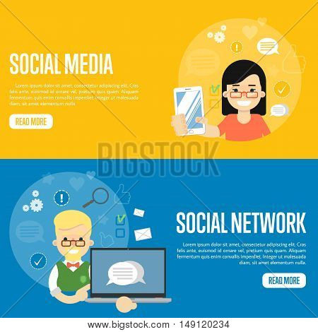 Cartoon girl holding smartphone. Smiling boy holding laptop with speech bubbles on screen. Social media network banners, vector illustration. Connecting people, social networking. Virtual marketing