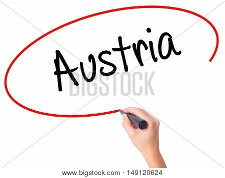 Women Hand Writing  Austria With Black Marker On Visual Screen