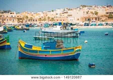 fishing boats near fishing village of Marsaxlokk (Marsascala) in Malta