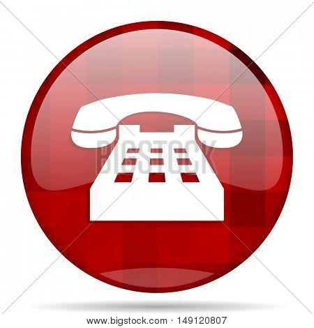 phone red round glossy modern design web icon