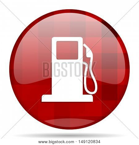 petrol red round glossy modern design web icon