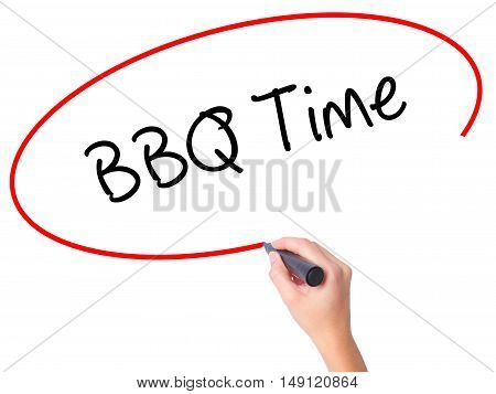 Women Hand Writing Bbq Time With Black Marker On Visual Screen