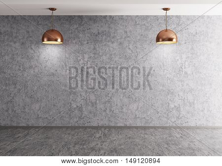 Two Lamps Over Concrete Wall 3D Rendering