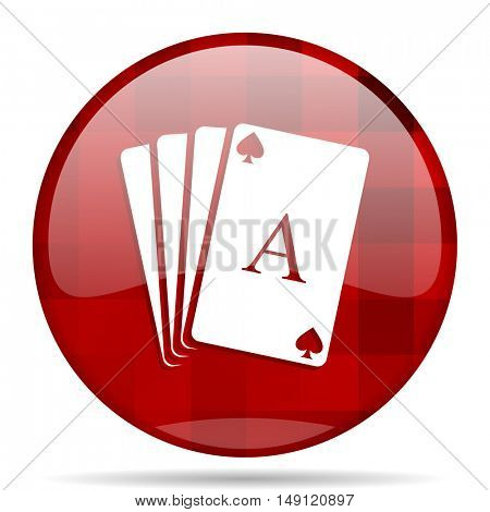 card red round glossy modern design web icon