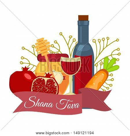 Rosh Hashanah jewish new year greeting card set design shana tova apple honey and pomegranate. Rosh Hashanah vector greeting card design for Jewish New Year. Rosh Hashanah celebration hashanah.