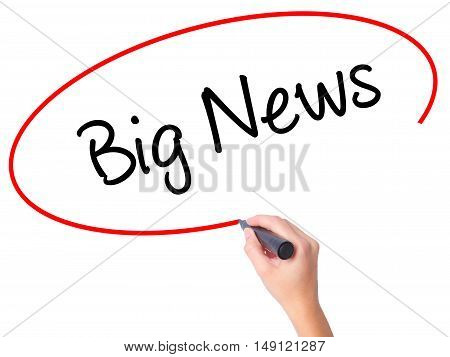 Women Hand Writing Big News With Black Marker On Visual Screen