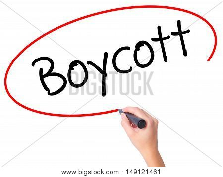 Women Hand Writing Boycott With Black Marker On Visual Screen.