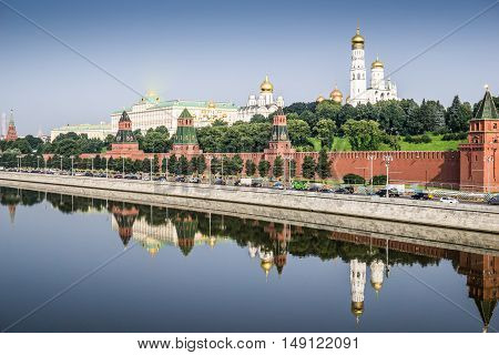 View of the Kremlin with Grand Palace and Moscow river. Russia