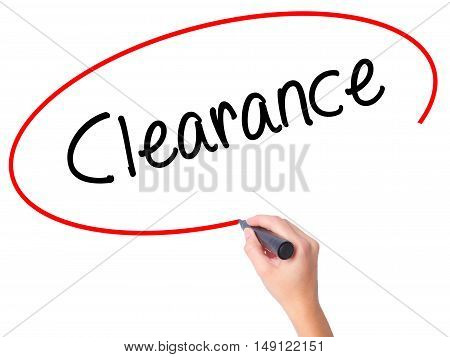 Women Hand Writing Clearance  With Black Marker On Visual Screen