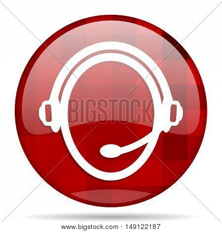 customer service red round glossy modern design web icon