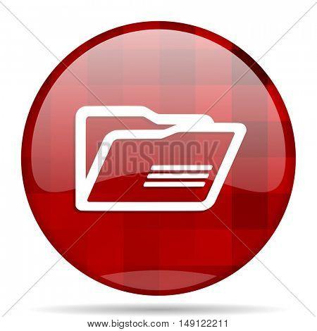 folder red round glossy modern design web icon