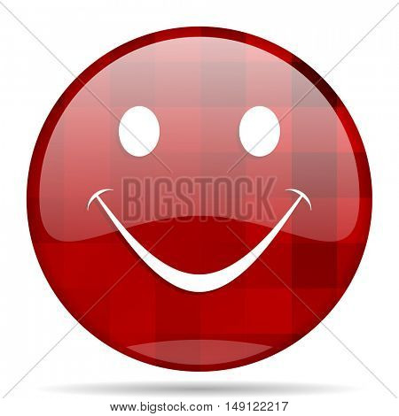 smile red round glossy modern design web icon