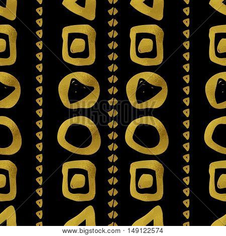Abstract seamless pattern. Black and gold grunge background with rows of geometric shapes. Digital paper.