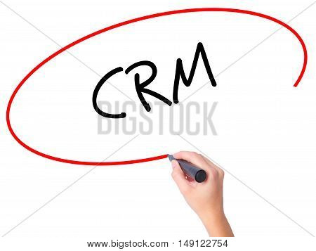 Women Hand Writing Crm With Black Marker On Visual Screen