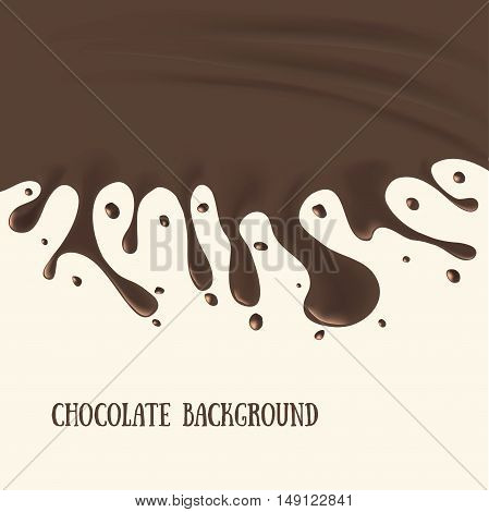 Chocolate Background with Drops and Blot. Vector illustration