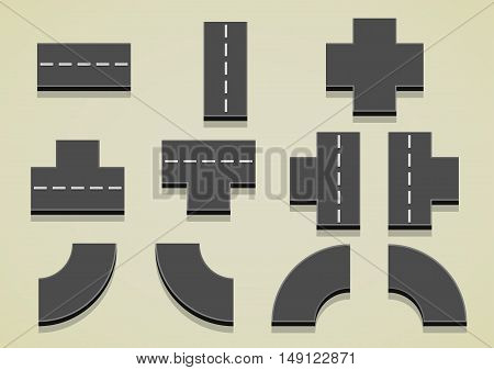 Set of eleven parts of the road