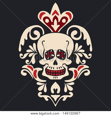 Skull front view in center of floral pattern Heraldic vintage label on black background.. damask floral skull emblem