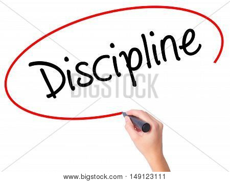 Women Hand Writing Discipline With Black Marker On Visual Screen