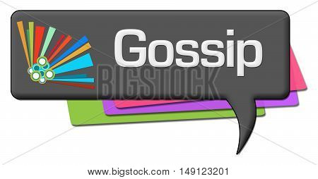 Gossip text written over dark colorful comment symbol.