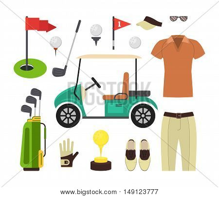 Golf Equipment Set. Sport Game. Flat Design Style. Vector illustration