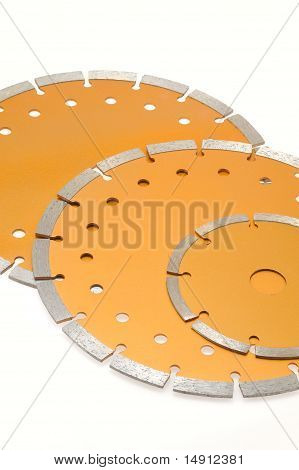 Circular diamond saw blades for stone isolated on white