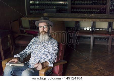 Hipster Man Writer Journal Inspiration Concept