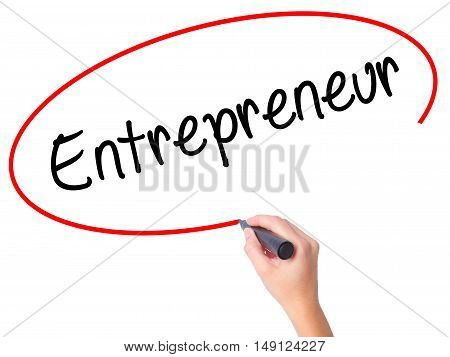 Women Hand Writing Entrepreneur With Black Marker On Visual Screen
