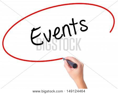 Women Hand Writing Events With Black Marker On Visual Screen