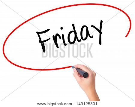 Women Hand Writing Friday With Black Marker On Visual Screen