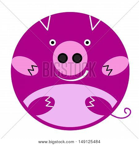 Vector round pink smiling pig Emoji. Element design cartoon character
