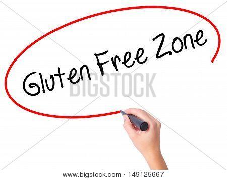 Women Hand Writing Gluten Free Zone With Black Marker On Visual Screen