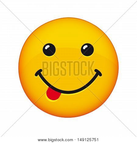 Smile with tongue. Smiling emoticon with smiling mouth and tongue vector icon