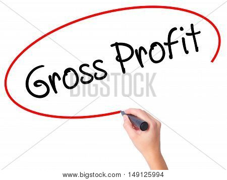 Women Hand Writing Gross Profit With Black Marker On Visual Screen